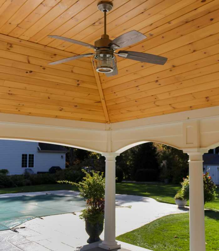 Inside of Custom Pool House with ceiling fan