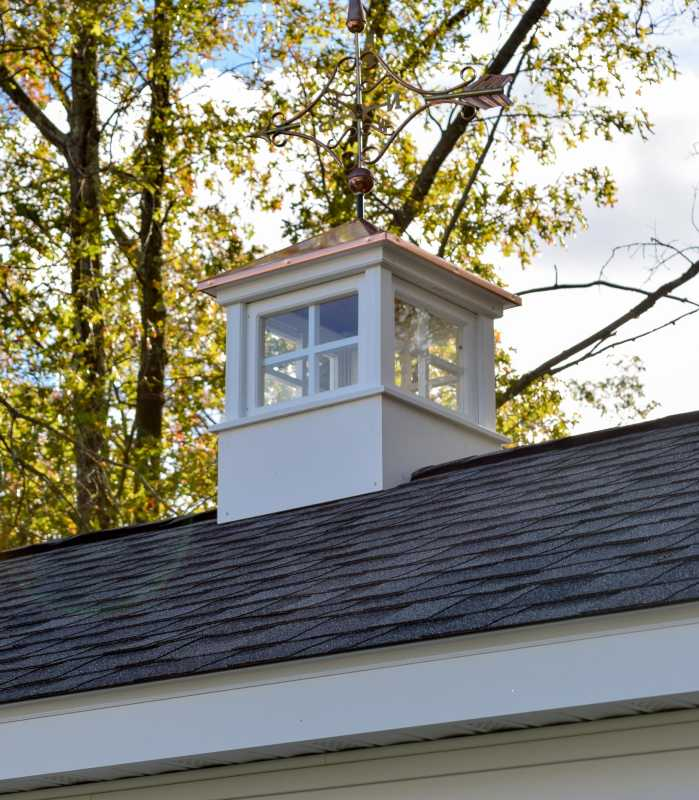 Vinyl Cupola with Copper Top On Custom Vinyl Shed