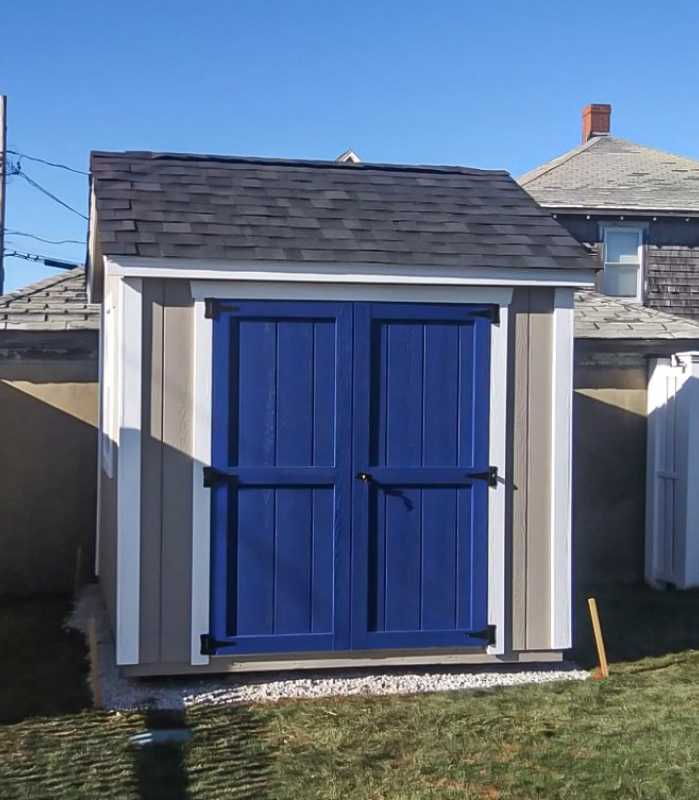 8x8 shed installation in backyard