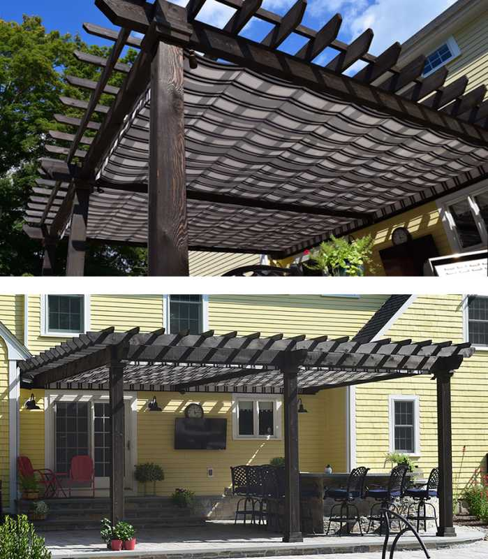 Custom Wood Pergola with shade cloth