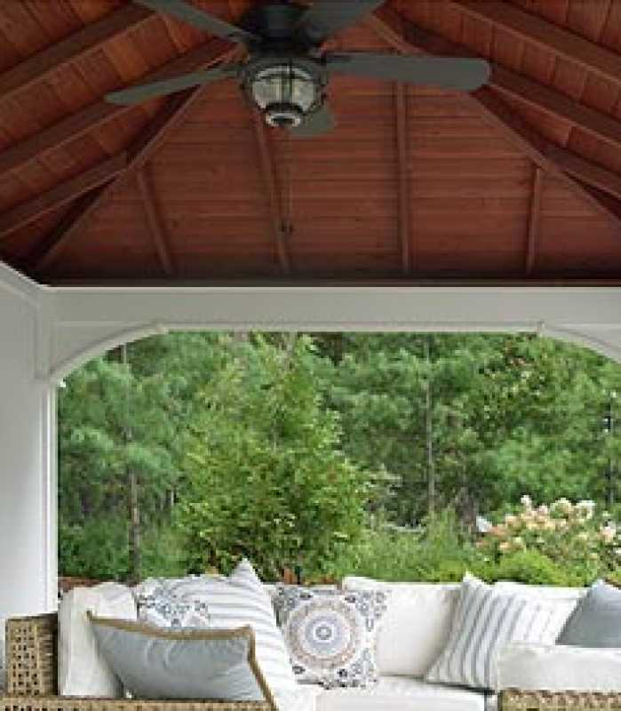 exposed beam ceiling in beautiful poolside pavilion