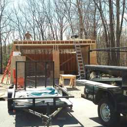 Building the two car Trestle Garage.