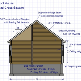 Custom Pool House Cross Section Blueprint
