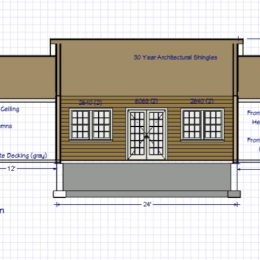 Custom Pool House Front Side Blueprint