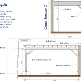 Custom Pergola Blueprint Cross Section