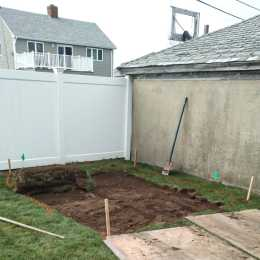 careful excavation for foundation for backyard shed