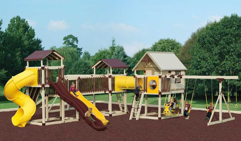 Children in a Swingset with Playhouse from Outdoor Personia.