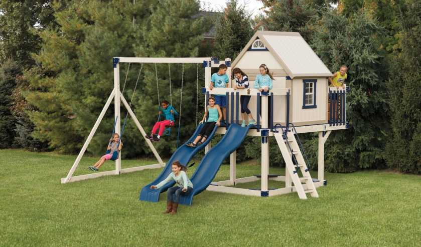 Children playing on a vinyl swing-set from Outdoor Personia.