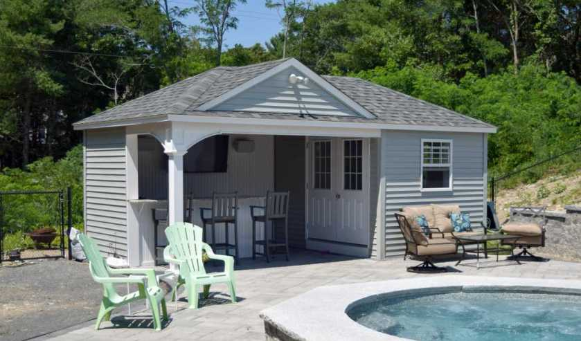 economy prebuilt pool house by Baystate Outdoor Personia